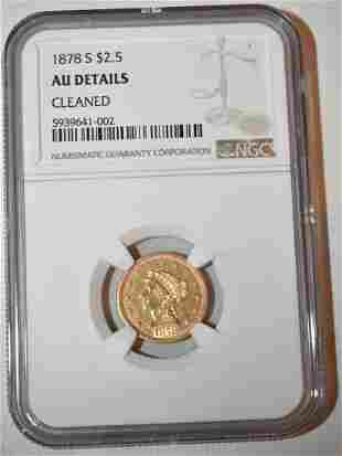 1878-S 2 1/2 DOLLAR LIBERTY HEAD GOLD COIN, AU DETAILS