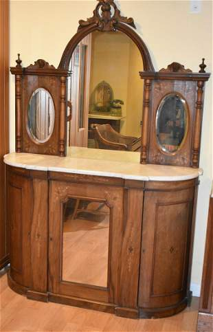 VICTORIAN STYLE INLAID MAHOGANY SIDEBOARD W/ MARBLE TOP
