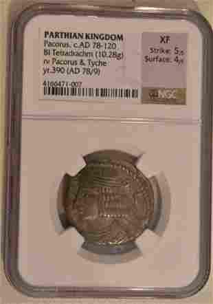 PARTHIAN KINGDOM-PACORUS ANCIENT SILVER COIN BI