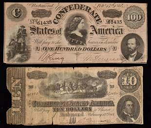 LOT (2) CONFEDERATE PAPER CURRENCY INCL. RICHMOND 100 $