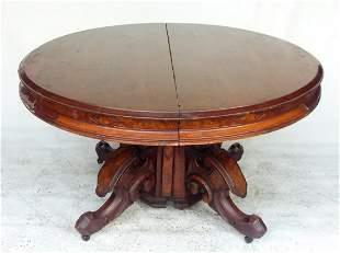 FINE VICTORIAN WALNUT ROUND TABLE W/ 5 LEAVES, C. 1870