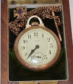 ART DECO E. HOWARD 17J GOLD FILLED POCKET WATCH W/ BOX