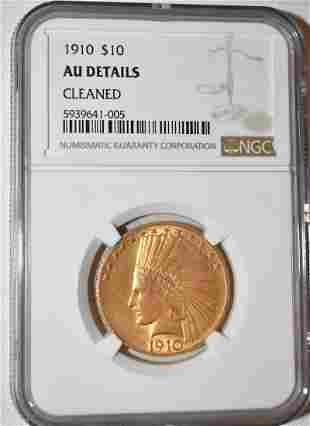 1910 INDIAN HEAD 10 DOLLAR GOLD COIN, AU DETAILS