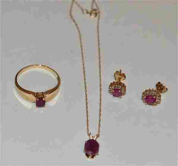 SET 14KT YW GOLD/RUBY/DIAMOND NECKLACE, RING, EARRINGS