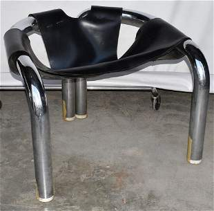 MID CENTURY MODERN CHROME/LEATHER LOUNGE CHAIR, C. 1960
