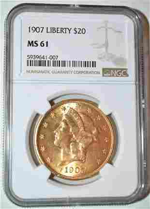 1907 20 DOLLAR LIBERTY HEAD GOLD COIN, MS 61