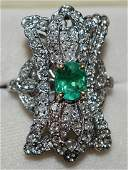 EXCEPT. ART DECO 18KT WH. GOLD DIAMOND & EMERALD RING