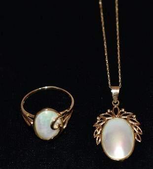 LOT (2) ART NOUVEAU 14KT YELLOW GOLD NECKLACE/RING