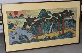 TIBETAN W/C PANEL W/ DEER/LANDSCAPE, 20TH C.