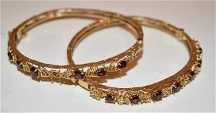 LOT (2) DECO 14KT YELLOW GOLD/GARNET BANGLE BRACELETS