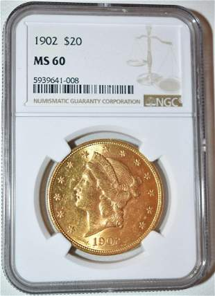 1902 20 DOLLAR LIBERTY HEAD GOLD COIN, MS 60
