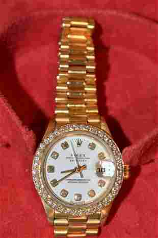 EXCEPTIONAL ROLEX 18KT YELLOW GOLD/DIAMOND DIAL/BEZEL