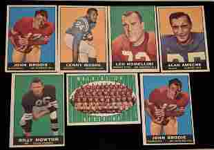 (7) TOPPS 1961 FOOTBALL CARDS INCL. 2 JOHN BRODIE #59