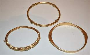 LOT (3) DECO 14/18KT YELLOW GOLD BANGLE BRACELETS