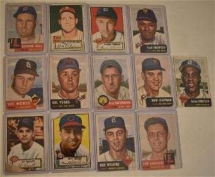 13 TOPPS 1952/53 BASEBALL CARDS INCL. JACKIE ROBINSON