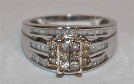 ART DECO STYLE 10KT YW./WH. GOLD DIAMOND RING, 20TH C.