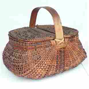 COUNTRY OAK/ASH BUTTOCKS BASKET, 19/20TH C.