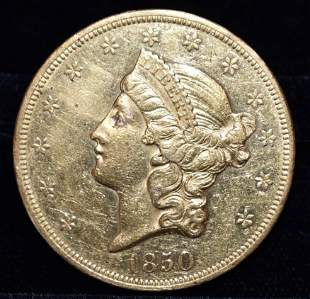 1850 20 DOLLAR LIBERTY HEAD GOLD COIN, AU DETAILS