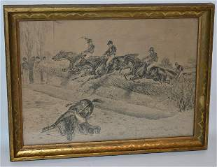 """2 GRAPHITE DRAWINGS """"STEEPLE CHASE"""" SIGNED ILLEG., 1884"""