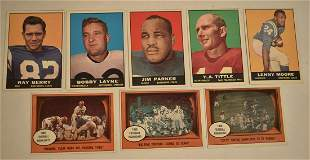 LOT (8) TOPPS FOOTBALL CARDS INCL. 1961 Y.A. TITTLE #58