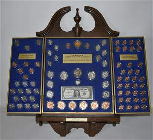 HISTORICAL COIN DISPLAY INCL. SILV DOLLARS, 1/2 DOLLARS