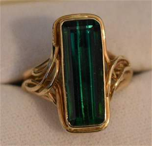 ART NOUVEAU 14KT YELLOW GOLD/TOURMALINE RING SIGNED