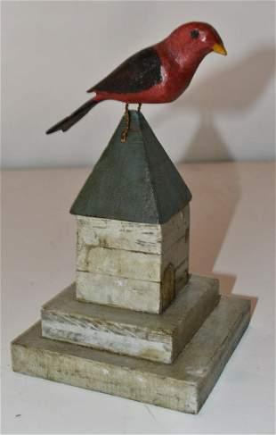 FOLK ART PAINTED BIRD ON CUPOLA, 19TH C.