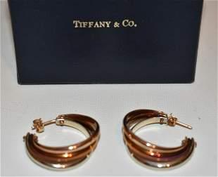 TIFFANY & CO. 14KT MULTI COLORED GOLD HOOP EARRINGS