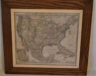 H/C MAP OF THE UNITED STATES (GERMAN), C. 1866