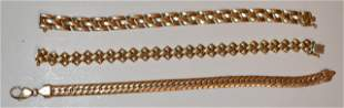 LOT (3) CONTEMPORARY 14KT YELLOW GOLD LINK BRACELETS