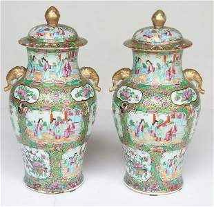 PAIR CHINESE ROSE MEDALLION COVERED URNS, 19TH C.