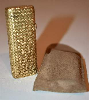 FINE DUNHILL STYLE 18KT WOVEN MESH SOLID GOLD LIGHTER