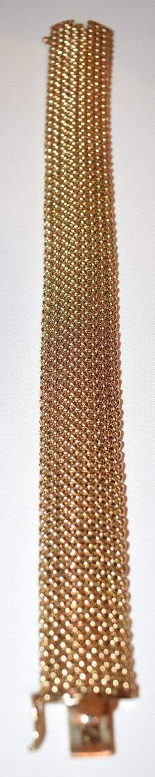 FINE DECO 14KT YELLOW GOLD WOVEN MESH BRACELET, C. 1960