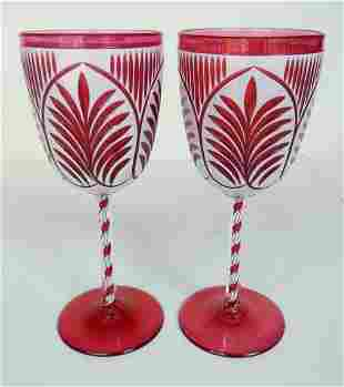 PAIR VICTORIAN CRANBERRY CUT/OVERLAY W/ CANDY CANE STEM