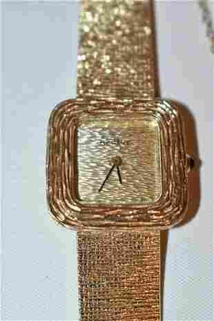 GENEVE 14KT YELLOW GOLD WRIST WATCH & BAND, C. 1960/70