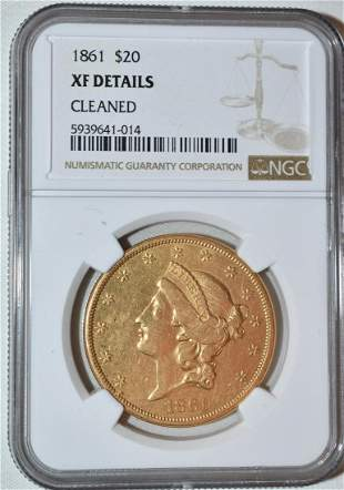 1861 20 DOLLAR LIBERTY HEAD GOLD COIN, XF DETAILS