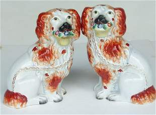 PAIR ENGLISH STAFFORDSHIRE SPANIELS, 19TH C.