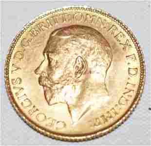 BRITISH 10.00 GEORGE V GOLD COIN 1925, WEIGHT 8.0 GRAMS