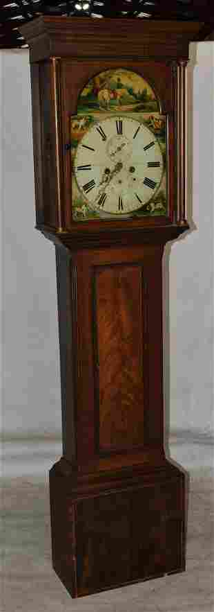 ENGLISH MAHOGANY TALL CASE CLOCK WITH H/P HUNT SCENE