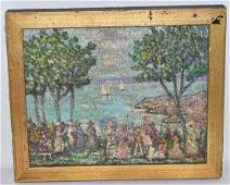 O/B RIVER VIEW W/ FIGURES SIGNED ARNOLD