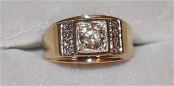 MODERN VINTAGE MENS 14KT YELLOW GOLD/DIAMOND RING