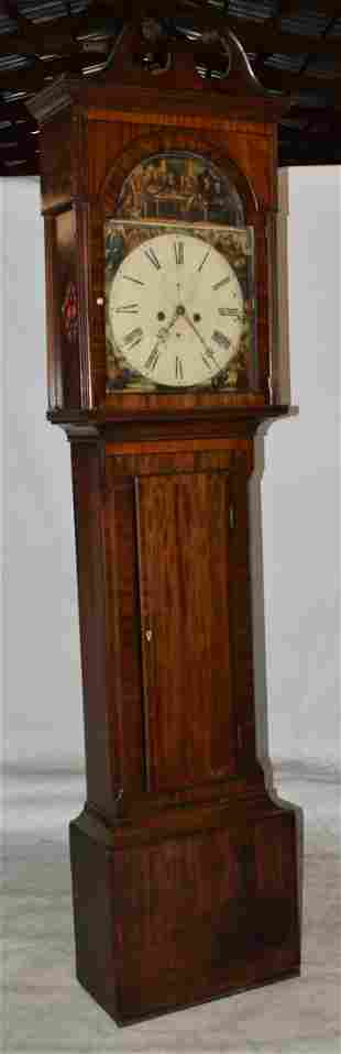 ENGLISH MAHOGANY TALL CASE CLOCK W/ FINE PAINTED DIAL