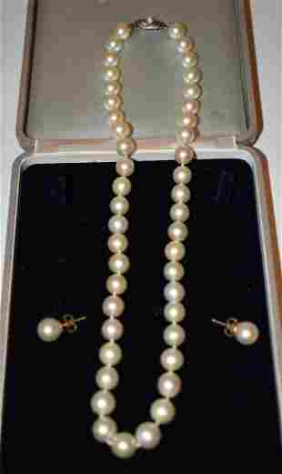 FINE ART DECO SOUTH SEA NATURAL PEARL NECKLACE/EARRINGS
