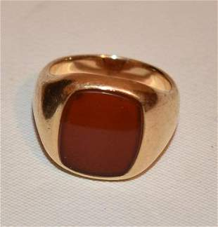 TIFFANY & CO. 14KT YELLOW GOLD/CARNELIAN RING, C. 1960