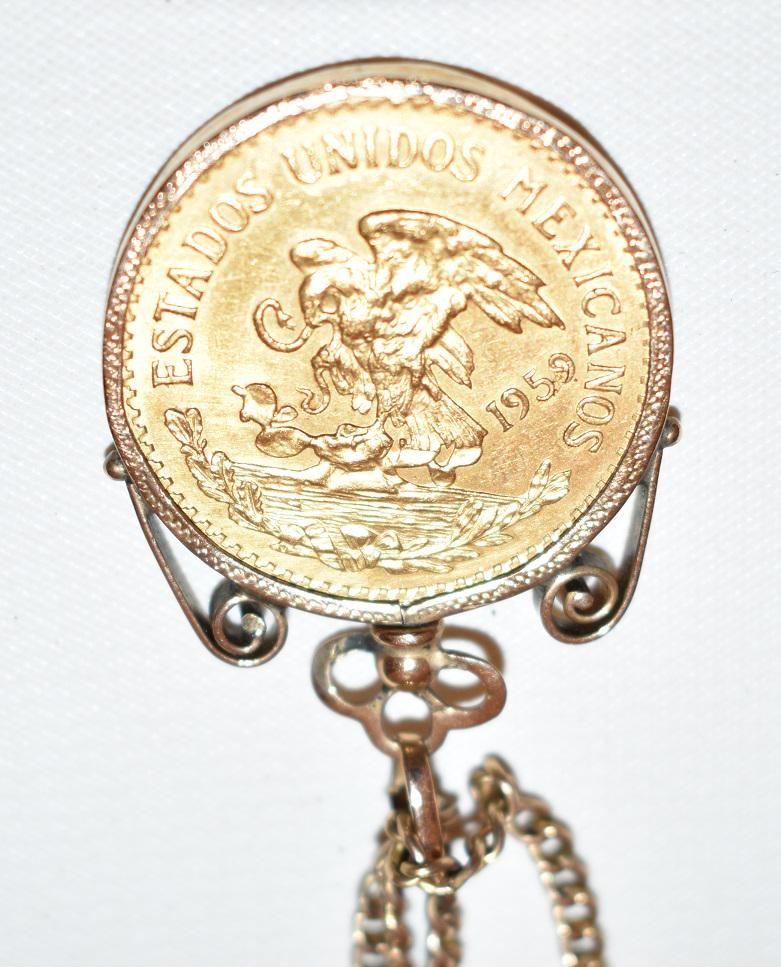 VINTAGE 14KT YELLOW GOLD POCKET WATCH CHAIN W/ MEXICAN