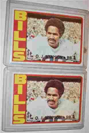 LOT (2) TOPPS 1972 O.J. SIMPSON FOOTBALL CARDS #160