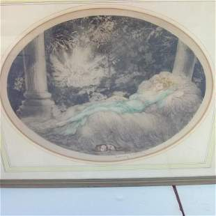 """H/C ETCHING """"SLEEPING BEAUTY"""" SIGNED LOUIS ICART #112"""