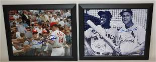 LOT (2) AUTOGRAPHED BASEBALL PHOTOS MAYS, MUSIAL, ROSE