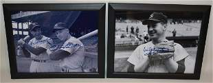 (2) AUTOGRAPHED BASEBALL PHOTOS FORD, MANTLE, DIMAGGIO