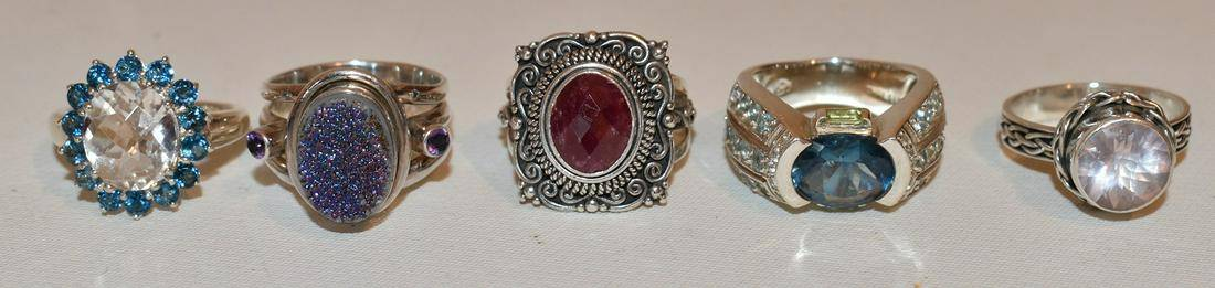 5 CONTEMPORARY STERLING RINGS INC. TOPAZ,